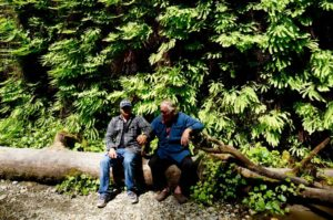 Jake and David Milarch enjoying a bit of sunshine together in Fern Canyon.